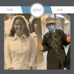 Before and After Sharon Shortridge graduating from Radford University and Now at Angus Dentistry